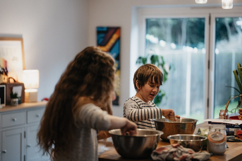 children cooking at home