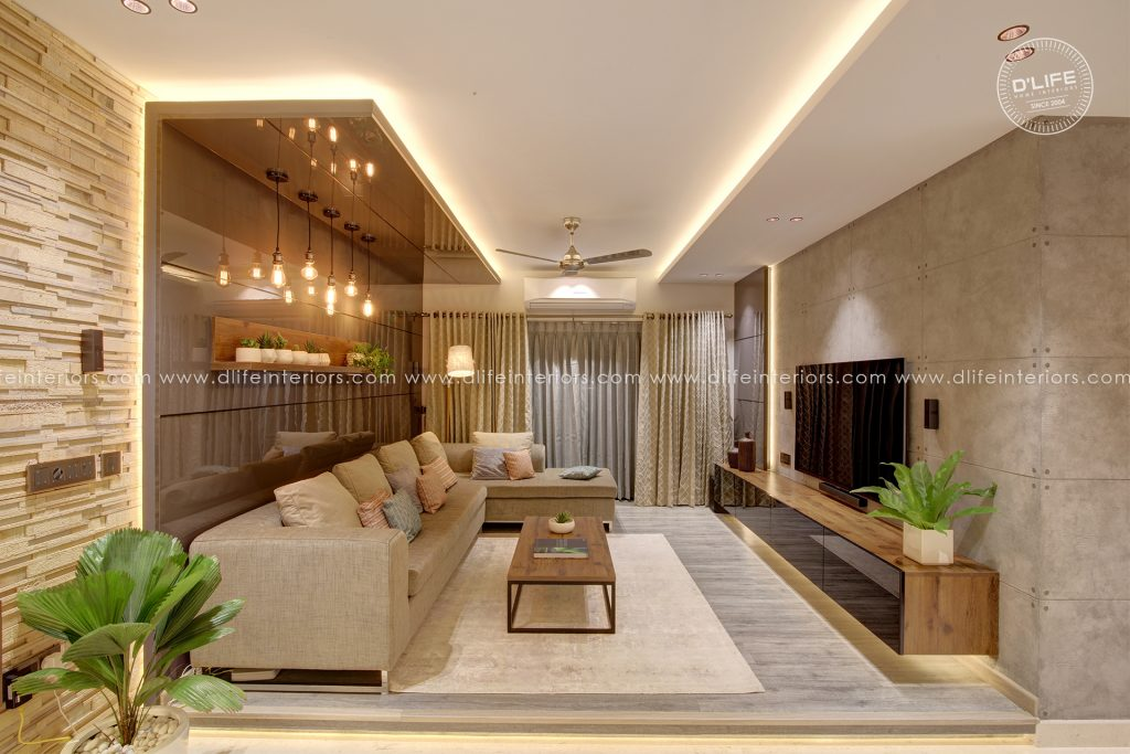 home interiors in kochi with false ceiling